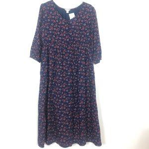 NWT Caslon Women's Blue Floral Boho Hippie  Dress